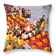 Evening Aarti - Rishikesh India Throw Pillow