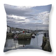Evening At Custom House Quay - Falmouth Throw Pillow