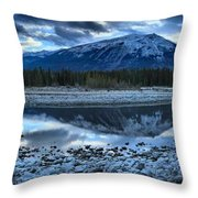 Evening At The Athabasca River Throw Pillow