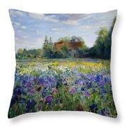 Evening At The Iris Field Throw Pillow