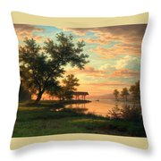 Evening Atmosphere By The Lakeside Throw Pillow