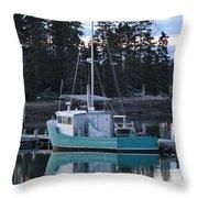 Evening Boat Throw Pillow