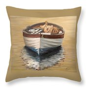 Evening Boat Throw Pillow