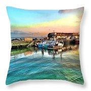 Evening Bridlington Harbour Throw Pillow