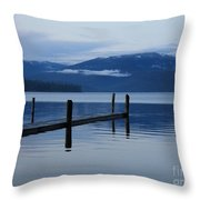 Tranquil Blue Priest Lake Throw Pillow