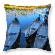 Evening Canoes At The Dock Throw Pillow