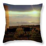 Evening Cows Throw Pillow