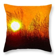 Evening Dunes Impasto Throw Pillow