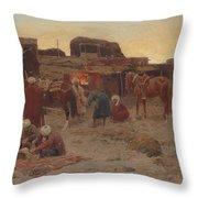 Evening Falls At The Camp Throw Pillow