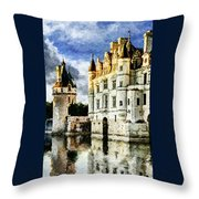 Evening Falls At The Castle Throw Pillow