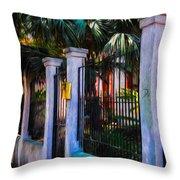 Evening Fence And Gate - Nola Throw Pillow