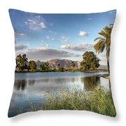 Evening Fishing Throw Pillow