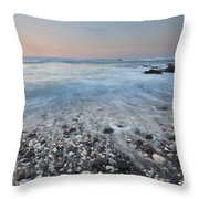 Evening Glow Over Coral And Lava Rock Shores Of Puako Throw Pillow by Charmian Vistaunet