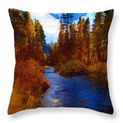 Evening Hatch On The Metolius Painting Throw Pillow