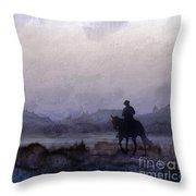 Evening Horseback Ride Throw Pillow