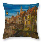 Evening In Brugge Throw Pillow