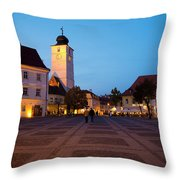 Evening In Sibiu's Grand Square Throw Pillow