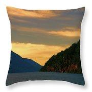 Evening Light At Lake Crescent Throw Pillow
