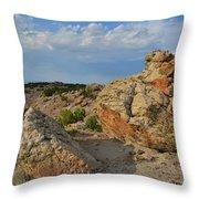 Evening Light On Boulders Of Bentonite Site Throw Pillow