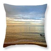Evening Light On Shanklin Beach Throw Pillow