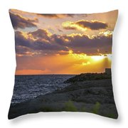 Evening Lighthouse Throw Pillow