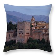 Evening Lights At The Alhambra Throw Pillow