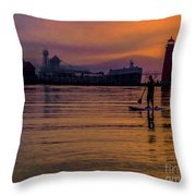 Evening On Lake Michigan At Grand Haven Throw Pillow
