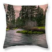 Evening On The Metolius Throw Pillow