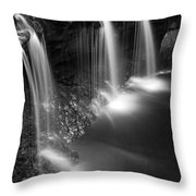 Evening Plunge Waterfall Black And White Throw Pillow