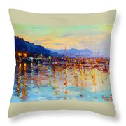 Evening Reflections In Piermont Dock Throw Pillow