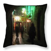 Evening Shoppers Throw Pillow