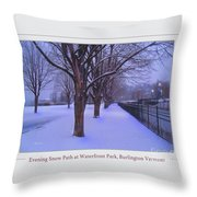 Evening Snow Path At Waterfront Park Burlington Vermont Poster Greeting Card Throw Pillow