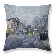 Evening Snowfall At Webster St Throw Pillow