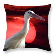 Evening Stork  Throw Pillow