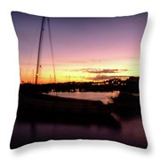 Evening Sun On Harbour Throw Pillow
