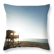 Evening Sun On Lifeguard Tower On Ostriconi Beach In Corsica Throw Pillow