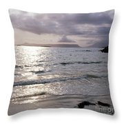 Evening The Isle Of Eigg  Inner Hebrides From The Beach At Arisaig Scotland Throw Pillow