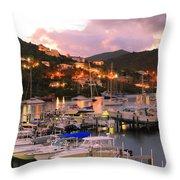 Evening Twilight At Oyster Pond, St. Martin Throw Pillow
