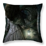 Evening Walk In Old Ruins Throw Pillow