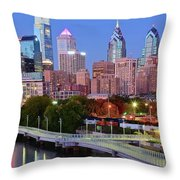Evening Walk In Philly Throw Pillow