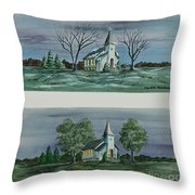 Evening Worship In Winter And Summer Throw Pillow