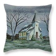 Evening Worship In Winter Throw Pillow