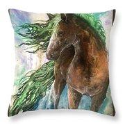 Ever Green  Earth Horse Throw Pillow