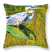 Everglades Blue Heron Throw Pillow