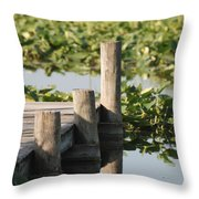 Everglades Pier Throw Pillow