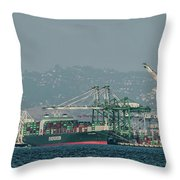 Evergreen Freight Ship And Cargo In Port Of Oakland, California Throw Pillow