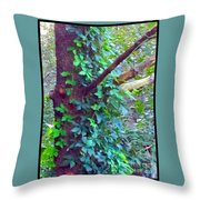 Evergreen Tree With Green Vine Throw Pillow