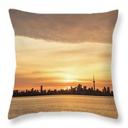 Every Morning Is Different - Toronto First Sunrays In Cyber Yellow  Throw Pillow