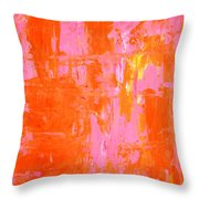 Everyone's Fav - Pink And Orange Abstract Art Painting Throw Pillow