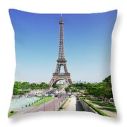 Eviffel Tower With Fountains Throw Pillow